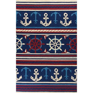 "Kas Meridian 5' X 7'6"" Navy Nautical Area Rug"
