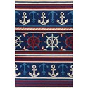 "Kas Meridian 5' X 7'6"" Navy Nautical Area Rug - Item Number: MEI25315X76"