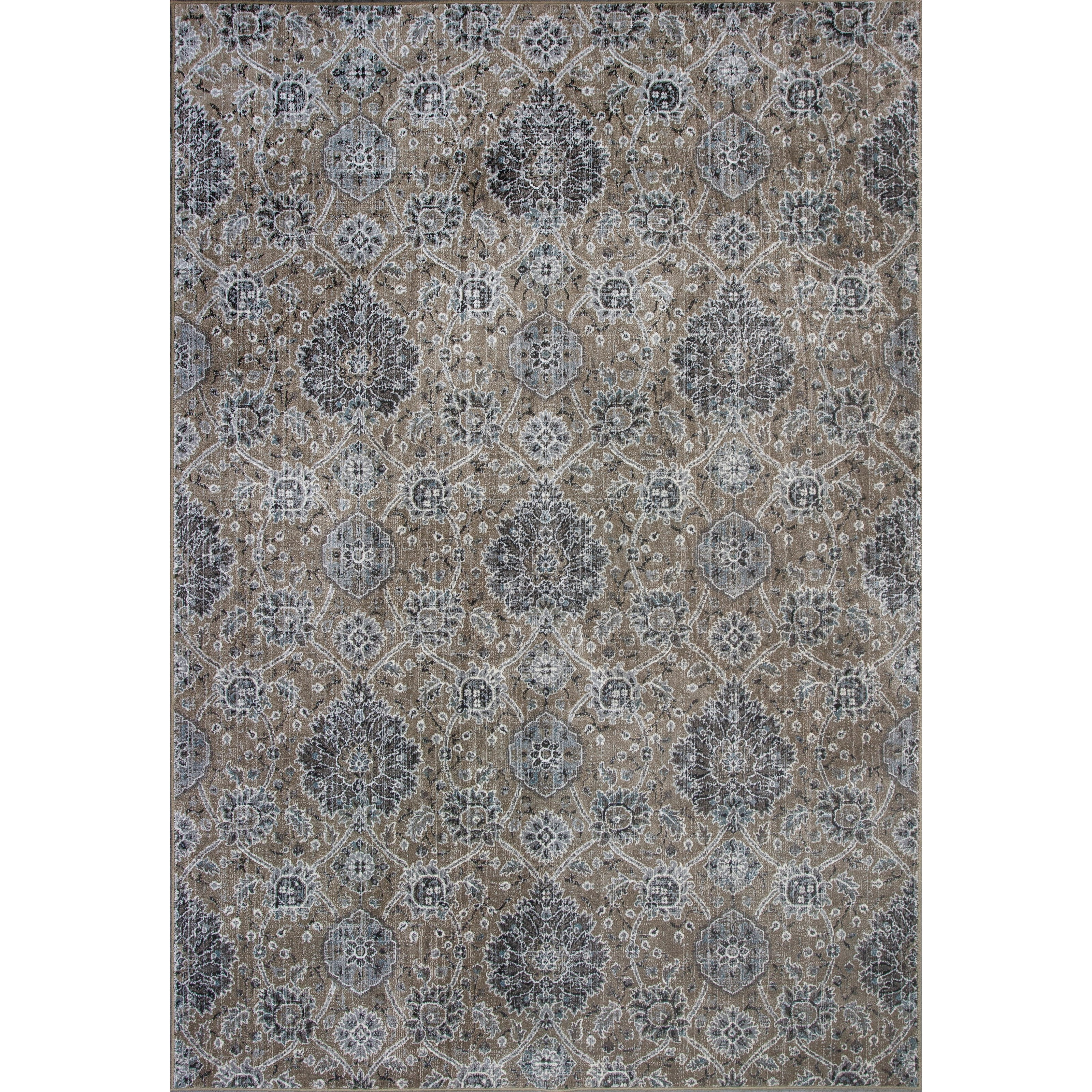 "2'2"" X 6'11"" Sand  Allover Kashan Area Rug"
