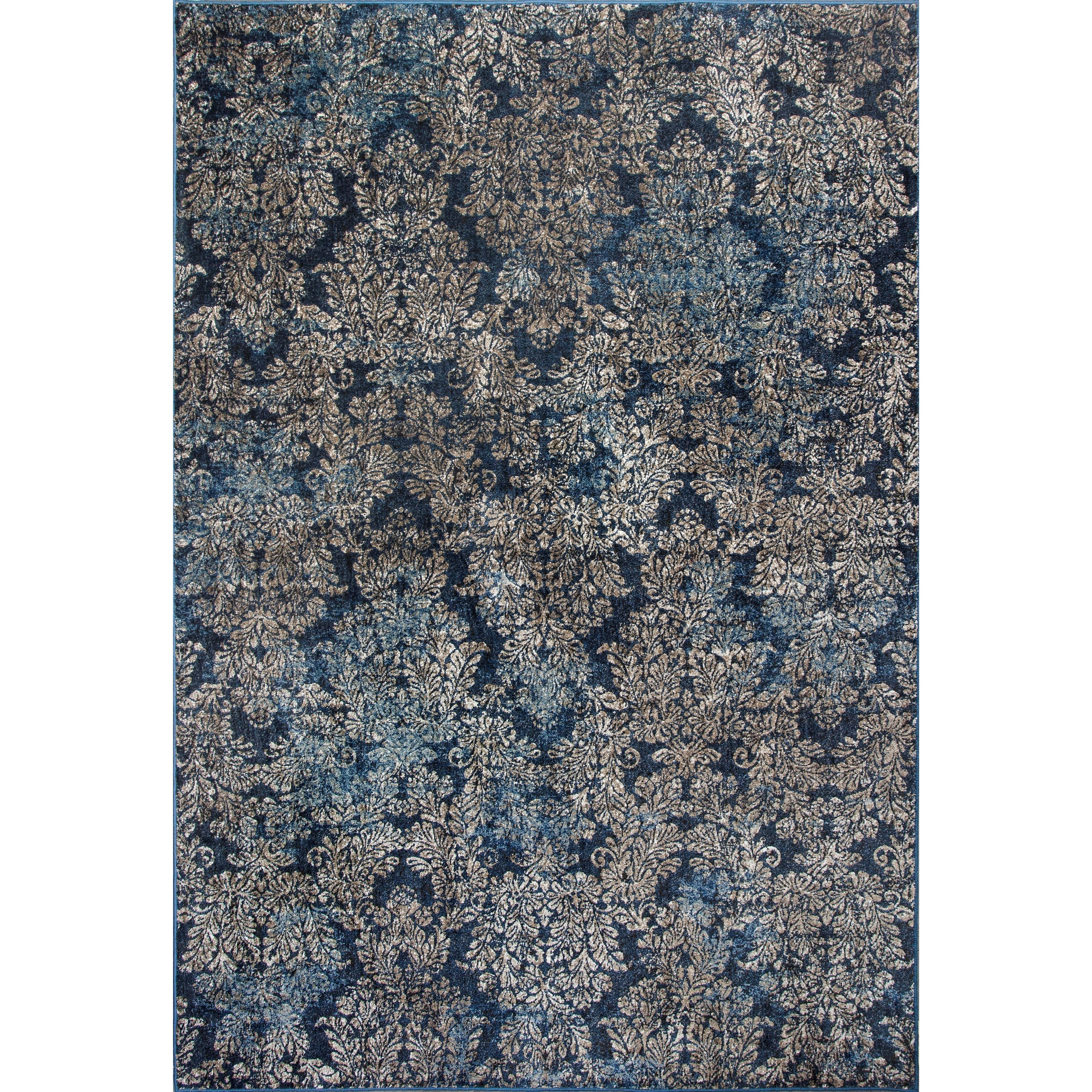 "7'10"" X 11'2"" Slate Blue Damask Area Rug"