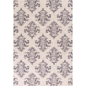 "Kas Reflections 5'3"" X 7'7"" Grey Damask Area Rug"