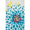 Kas Shelby 5' X 7' Ivory Floral Burst Area Rug - Item Number: SHE63005X7