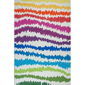 "Kas Shelby 6'6"" X 9'6"" Rainbow Soundwaves Area Rug"