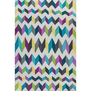"Kas Shelby 6'6"" X 9'6"" Teal/Grey Kaleidoscope Area Rug"