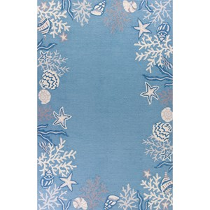 "Kas Sonesta 2' X 7'6"" Sea Blue Coastal Area Rug"