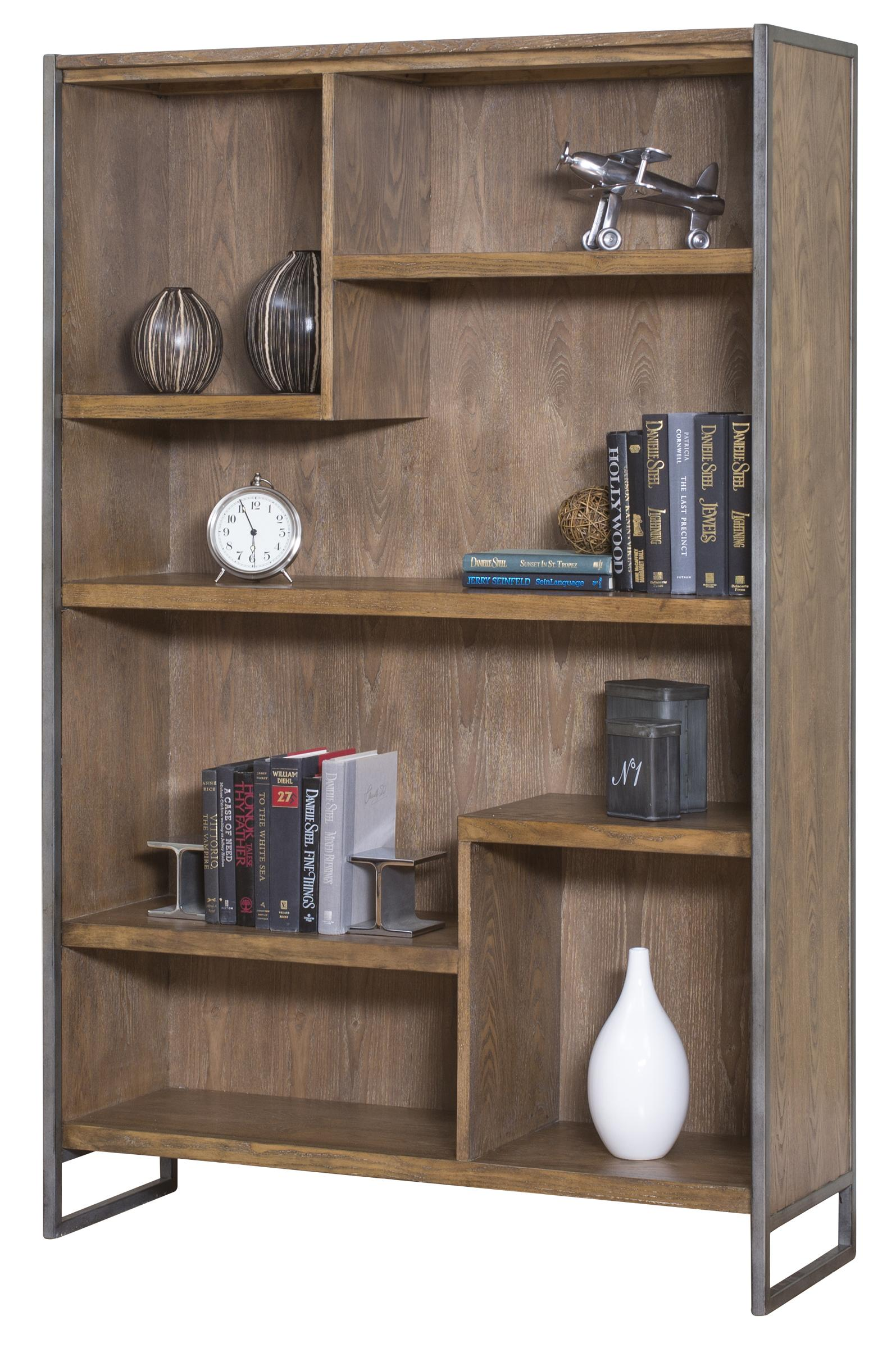 Kathy ireland home by martin belmont asymmetrical 5 shelf bookcase with rustic steel frame powells furniture and mattress open bookcase