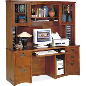 kathy ireland Home by Martin California Bungalow Computer Credenza and Deluxe Hutch
