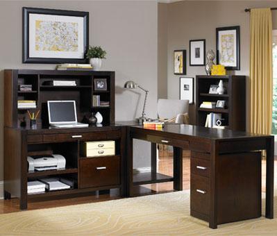 kathy ireland Home by Martin Carlton L Shape Desk - Item Number: CN387+55+382+384