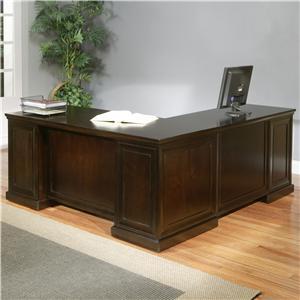kathy ireland Home by Martin Fulton KIH Double-Pedestal Desk with LHF Keyboard Return