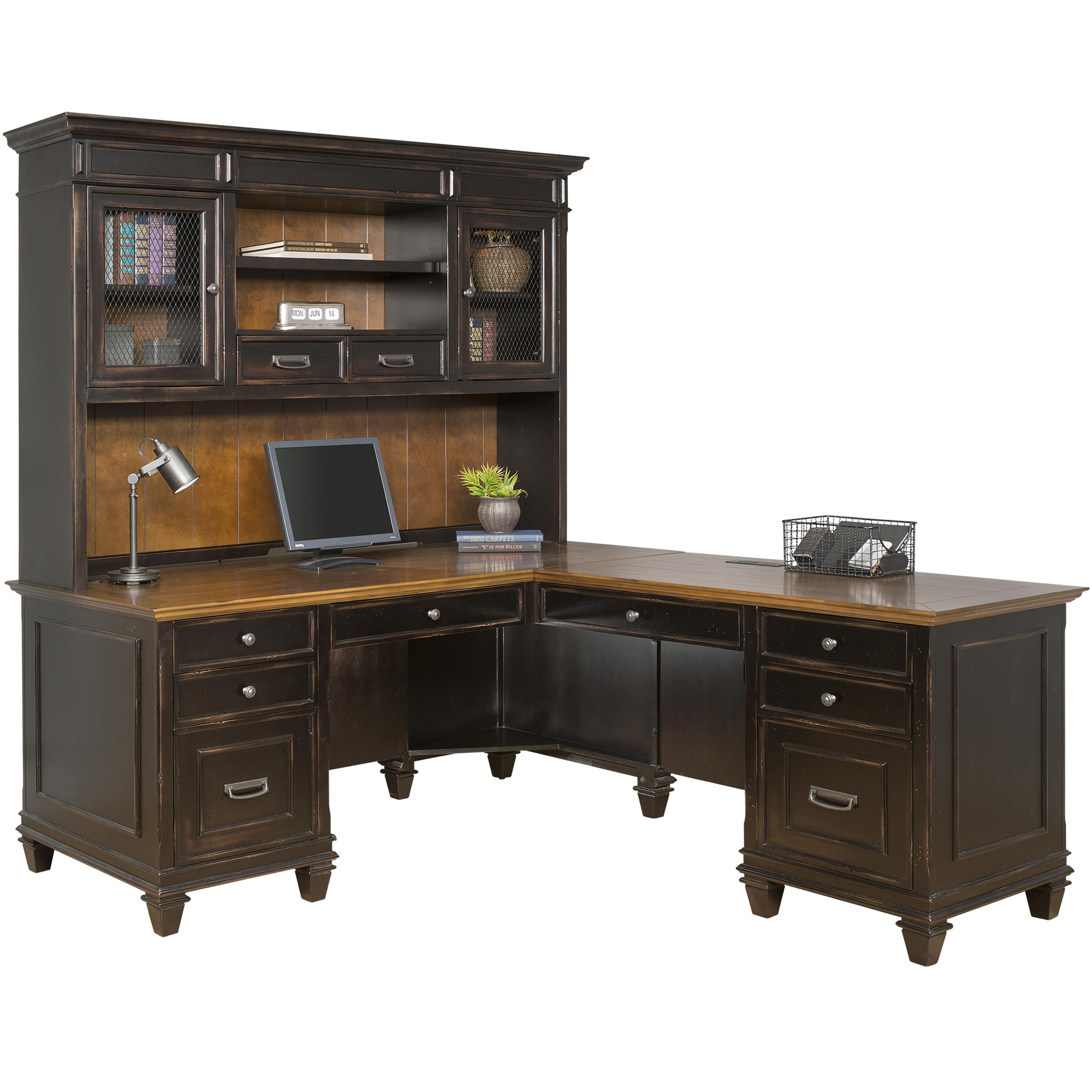 kathy ireland Home by Martin Hartford Right Hand Facing L-Shaped Desk with Hutch - Item Number: IMHF682+684R-R+684R