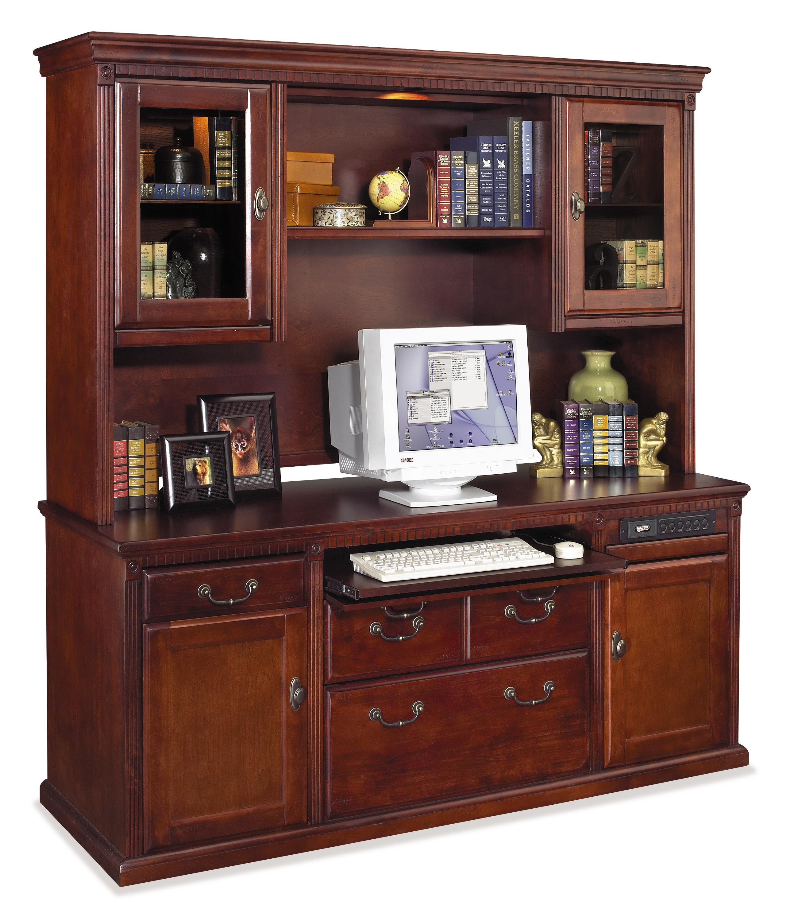 kathy ireland Home by Martin Huntington Club Credenza and Hutch w/ Pull-Out Storage Light - Item Number: HCR682+HCR687
