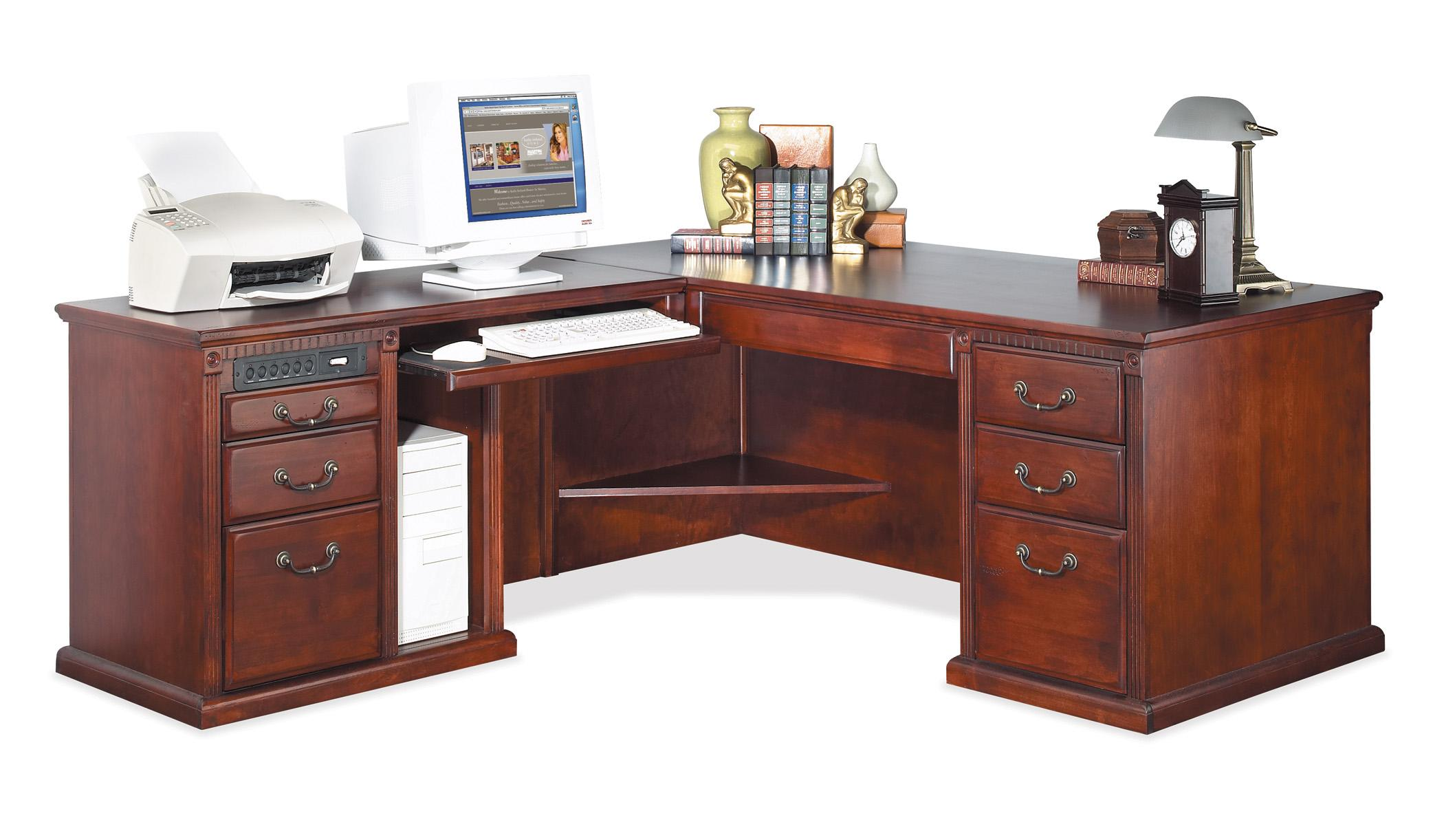 kathy ireland Home by Martin Huntington Club L-Shape Corner Desk w/ LHF Keyboard Return - Item Number: HCR684L+684L-R