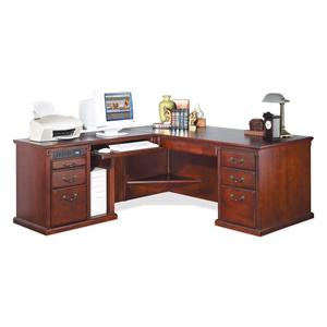 kathy ireland Home by Martin Huntington Club L-Shape Corner Desk w/ LHF Keyboard Return
