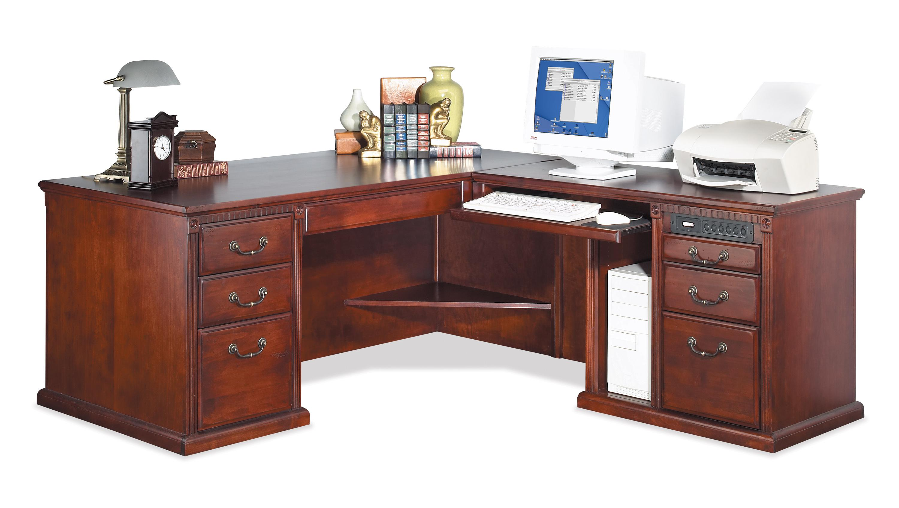 kathy ireland Home by Martin Huntington Club Corner L-Shaped Executive Desk - Item Number: HCR684R+684R-R