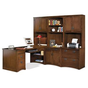 kathy ireland Home by Martin Mission Pasadena Peninsula Desk and Wall Unit