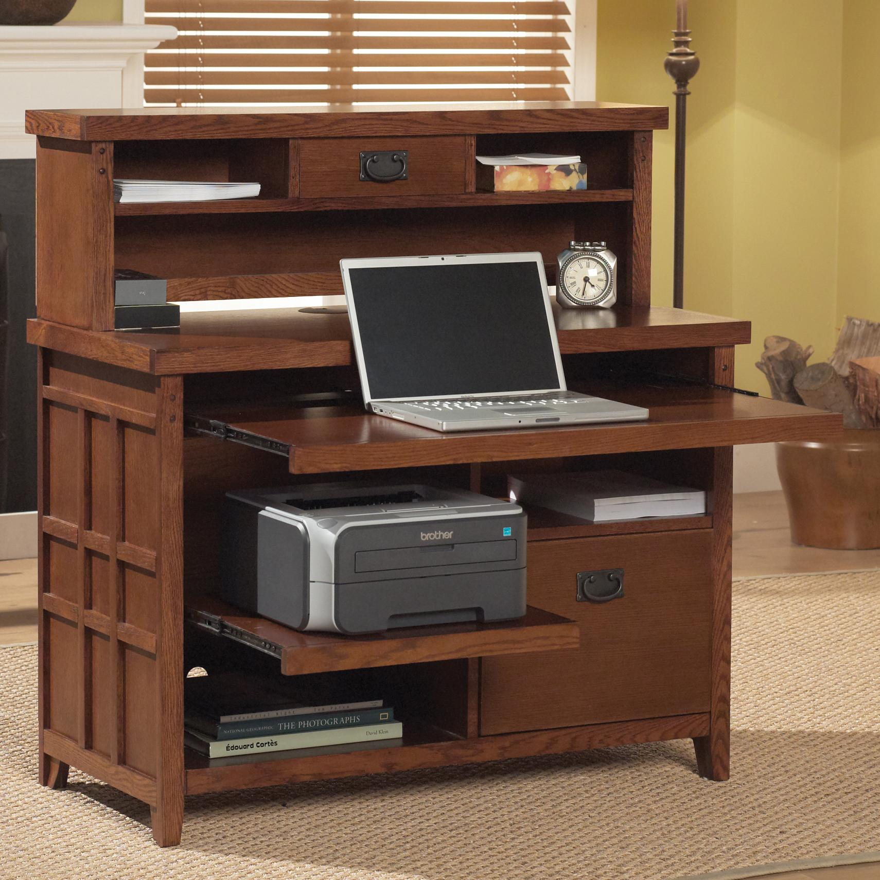 kathy ireland Home by Martin Mission Pasadena Internet Credenza & Hutch - Item Number: MP387+382