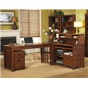 kathy ireland Home by Martin Mission Pasadena Internet Credenza with Pull-Out Laptop Tray - Shown with Rolling File, Laptop/Writing Desk, Corner Table, and Hutch for Credenza