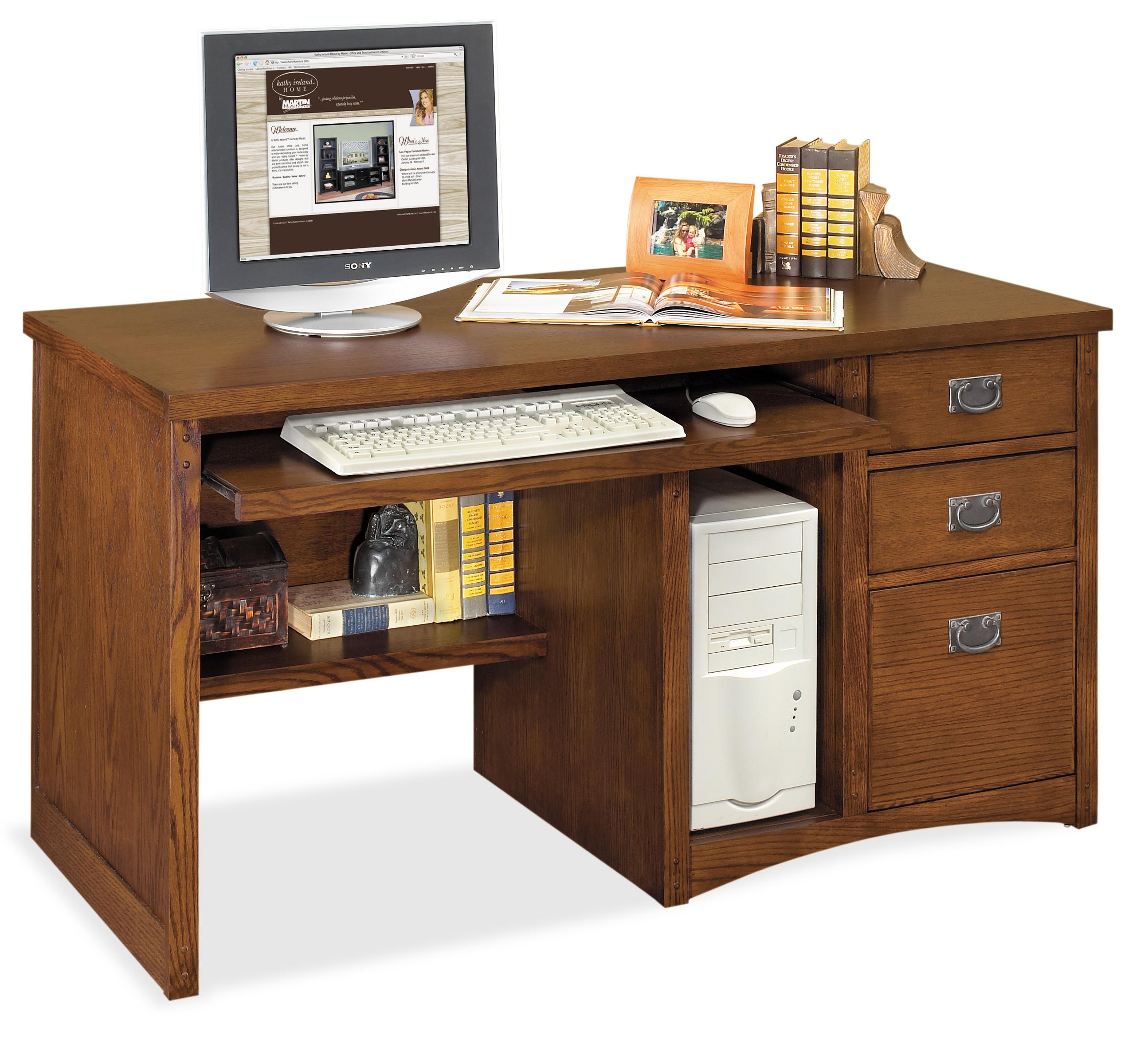 kathy ireland Home by Martin Mission Pasadena Single Pedestal Computer Desk - Item Number: MP540