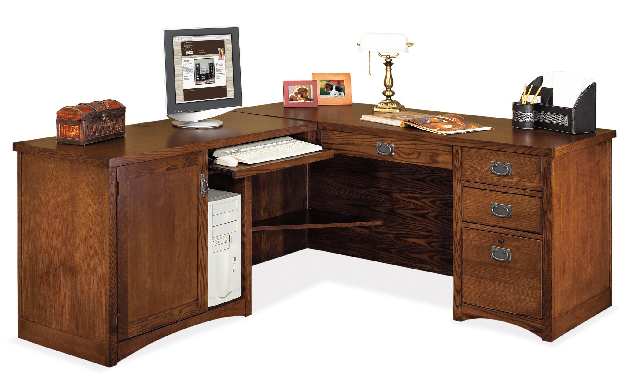kathy ireland Home by Martin Mission Pasadena L-Shaped Executive Desk  - Item Number: MP684L+MP684L-R