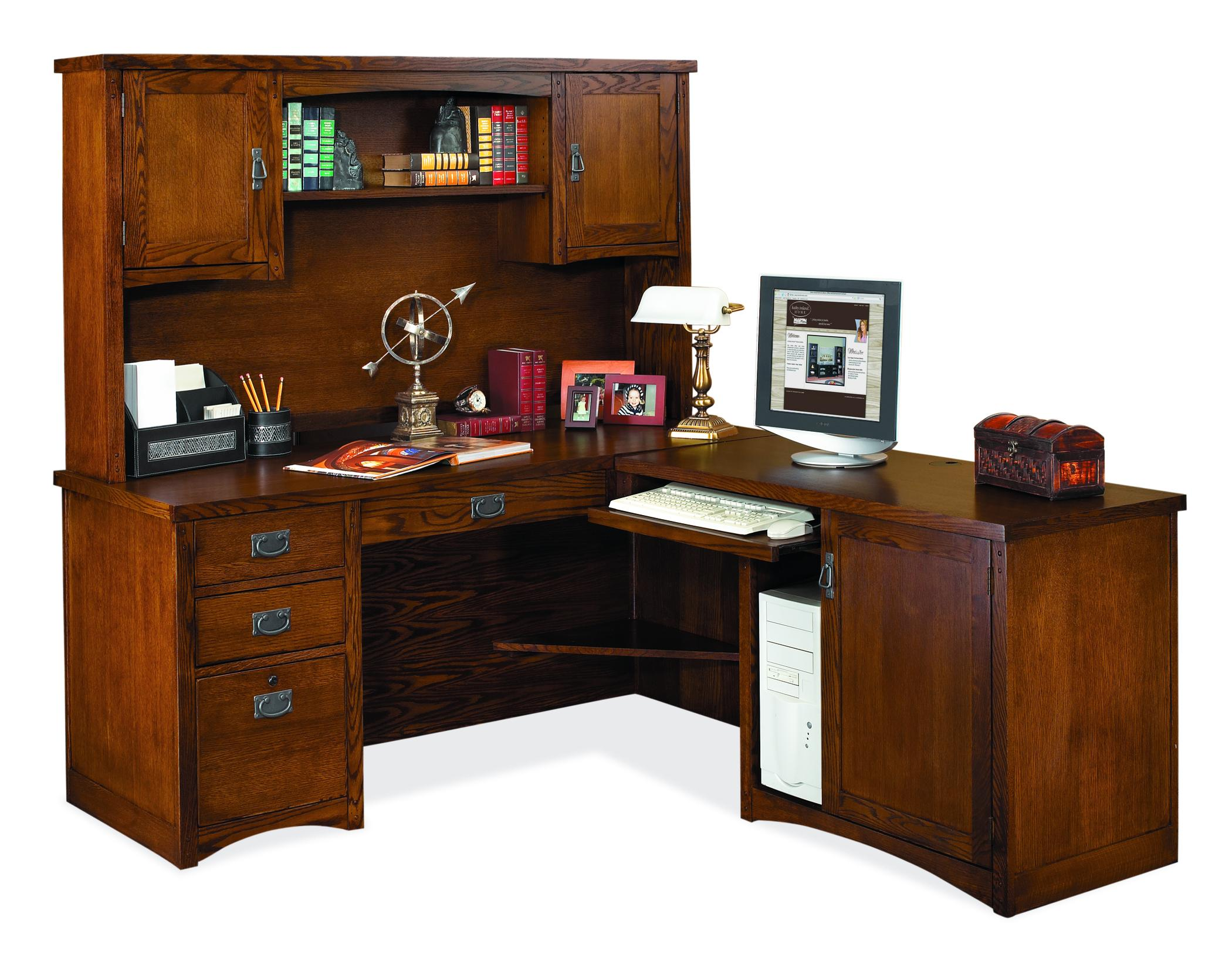 kathy ireland Home by Martin Mission Pasadena L-Shaped Desk & Hutch - Item Number: MP684R+684R-R+682