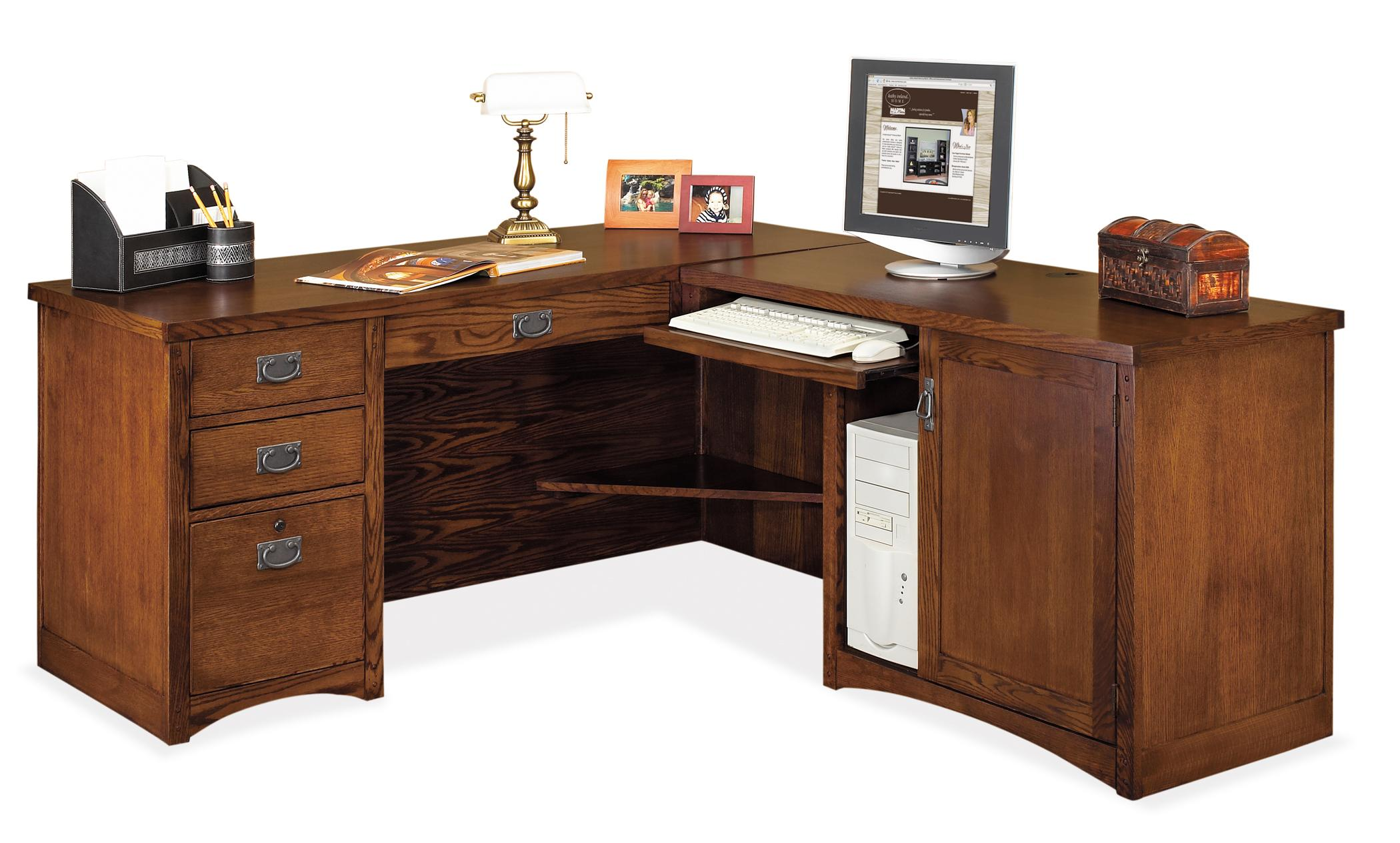 kathy ireland Home by Martin Mission Pasadena L-Shaped Executive Desk - Item Number: MP684R+684R-R