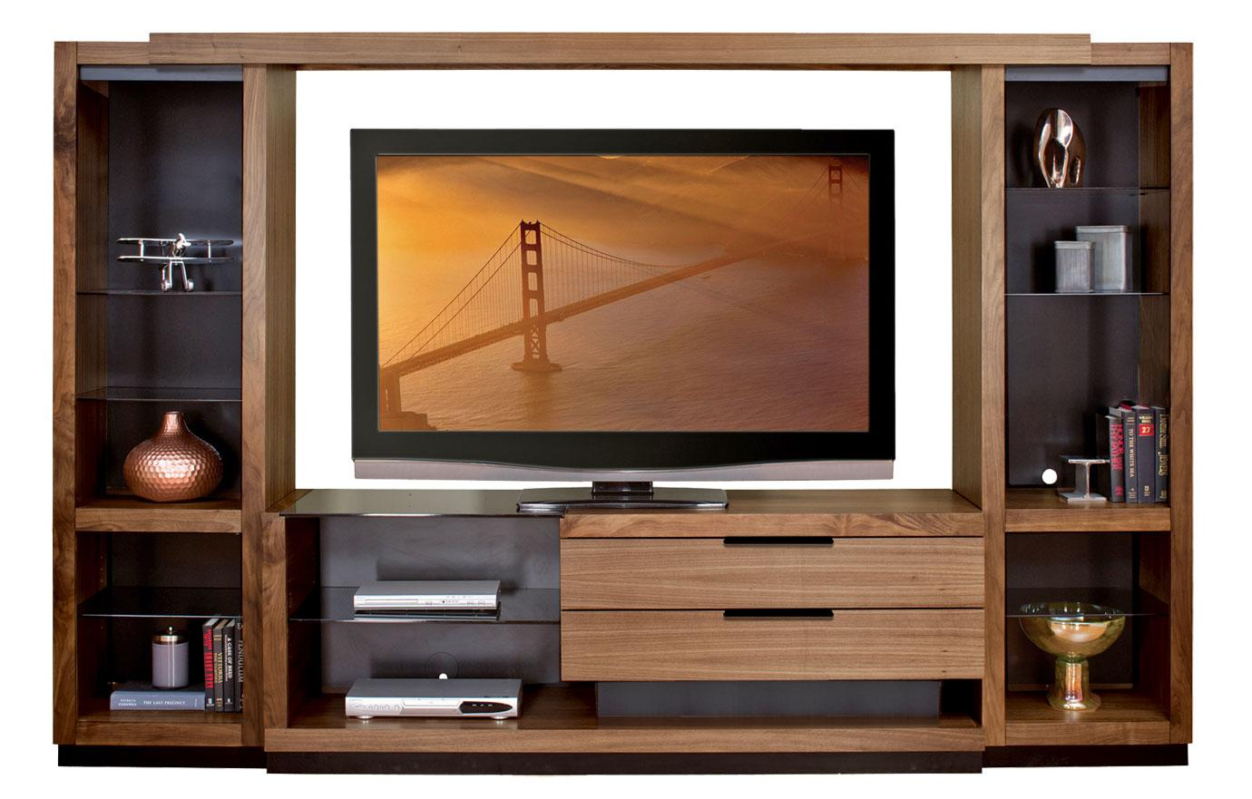 Martin Home Furnishings Stratus-Walnut Full Wall Unit with Bridge - Item Number: SS 2x970+370+497BR