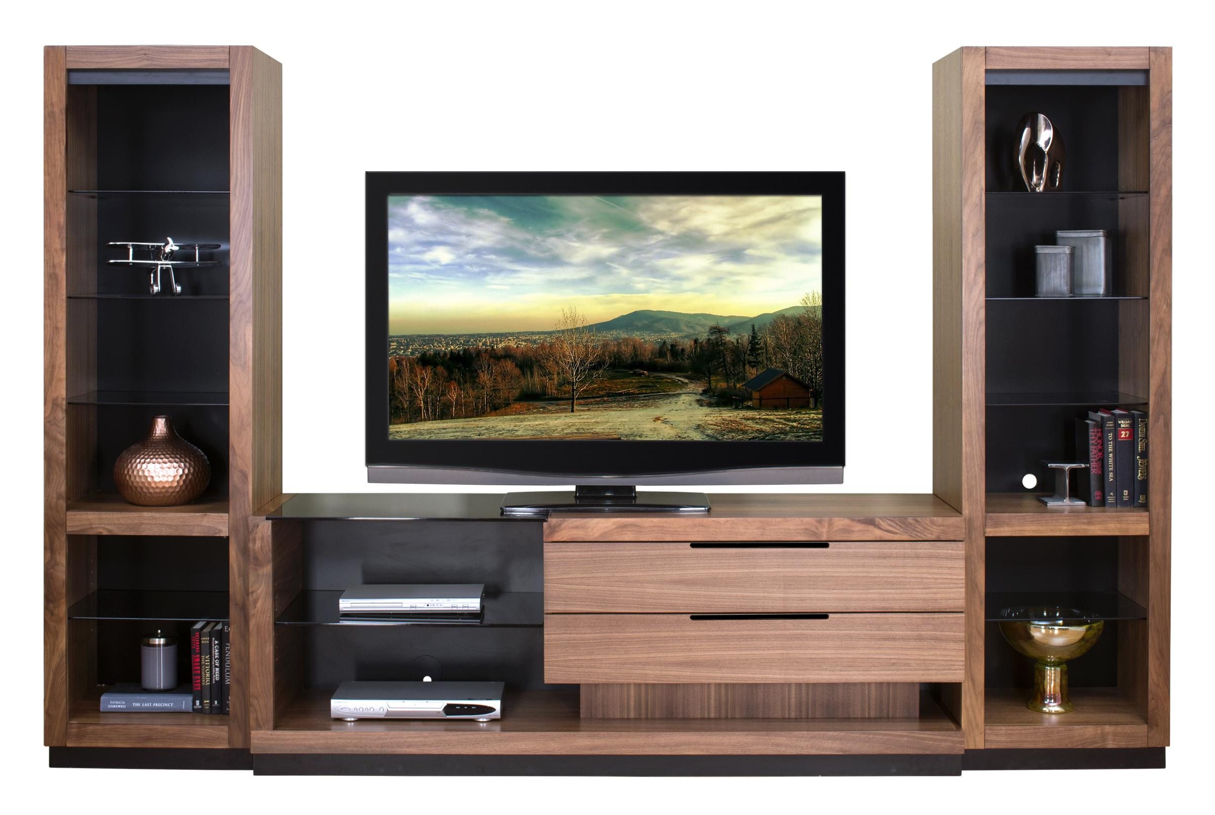 Martin Home Furnishings Stratus-Walnut Right Focused Wall Unit with 2 Open Piers - Item Number: SS 2x970+370