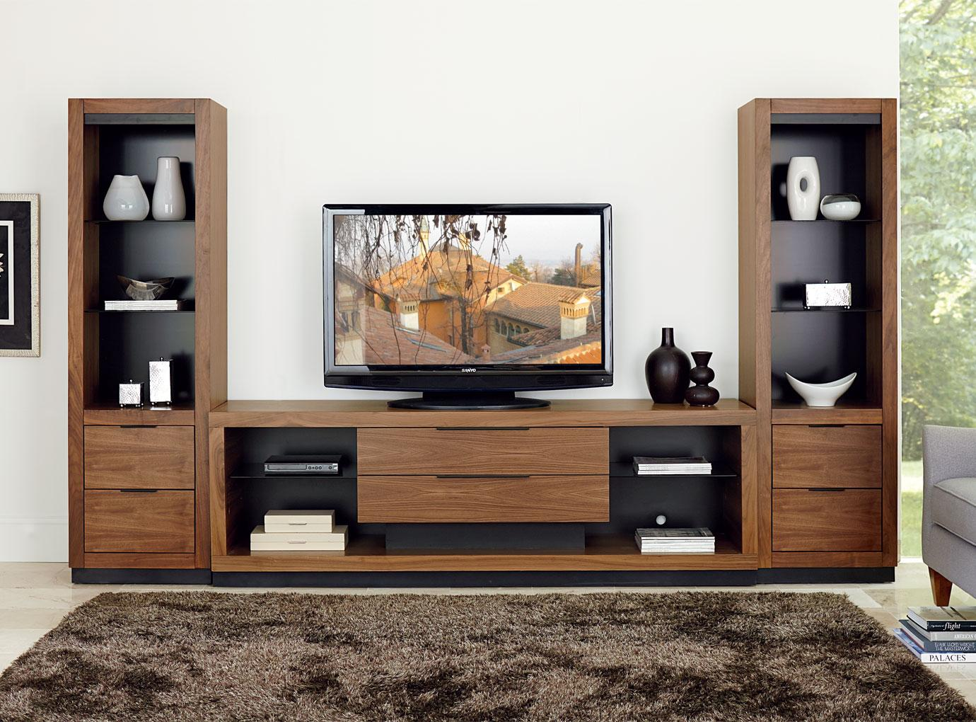 Martin Home Furnishings Stratus-Walnut Center Wall Unit with Drawer Piers - Item Number: SS 2x970DR+380