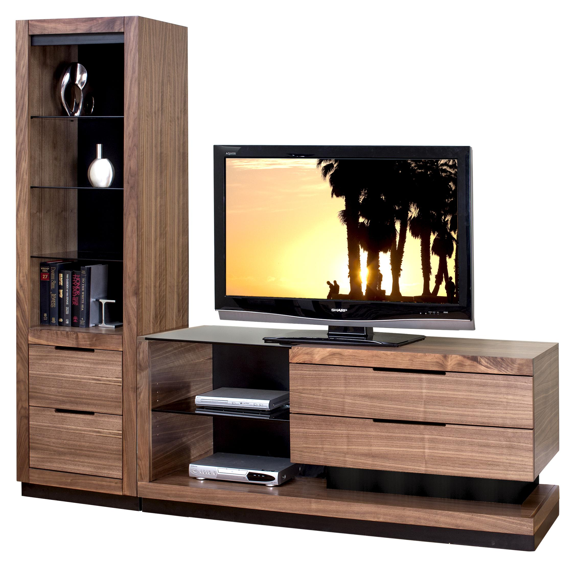 Martin Home Furnishings Stratus-Walnut Small Left Side Wall Unit with 1 Pier - Item Number: SS970DR-360