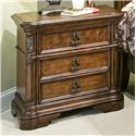 Vaughan Furniture Romantic Dreams Traditional 3-Drawer Nightstand with Gold-Tipped Hardware - 577-08