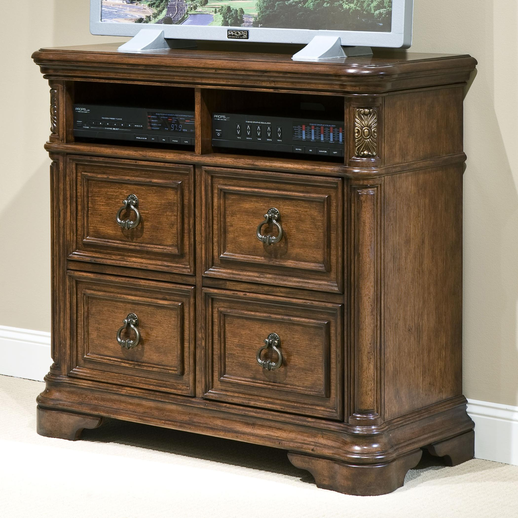 Romantic Dreams Media Chest With Applied Carvings U0026 Gold Tipped Hardware By  Vaughan Furniture