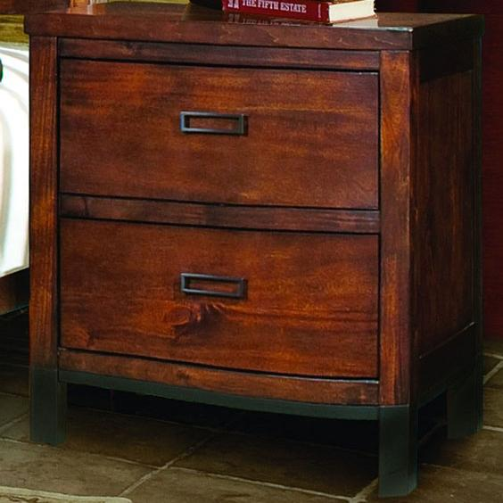 Vaughan Furniture Rustic Lodge Two Drawer Contemporary Nightstand With  Straight Leg Metal Base   AHFA   Night Stand Dealer Locator
