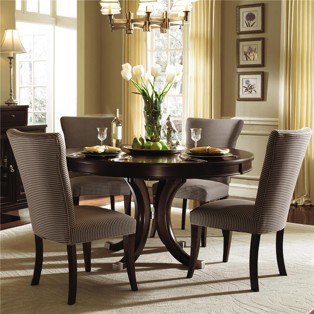 Kincaid Furniture Alston Round Dining Table Four Upholstered Side Chairs