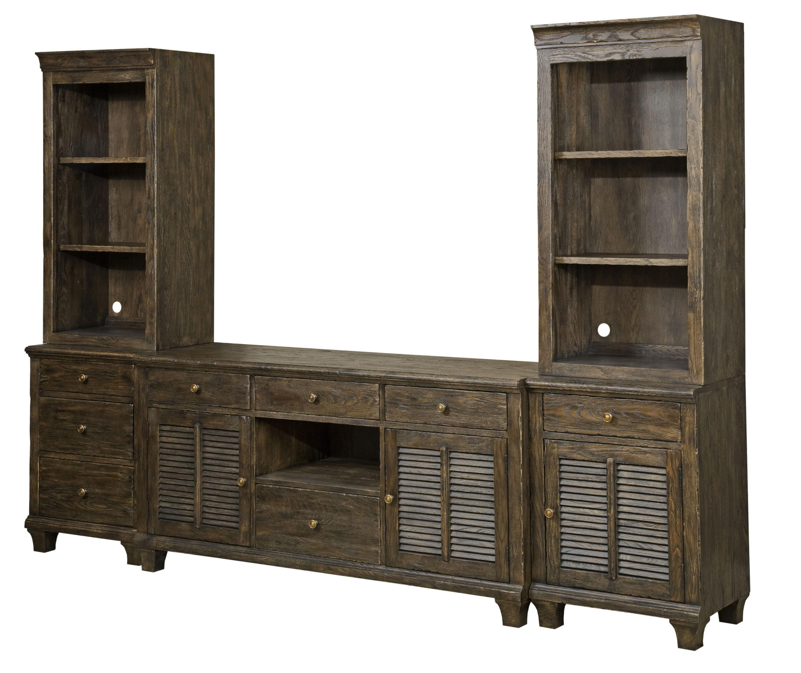 Kincaid Furniture Artisans Shoppe Accents Complete Lorraine 8 Drawer Media  Wall Unit With Louvered Doors And Rustic Finish   AHFA   Wall Unit Dealer  Locator