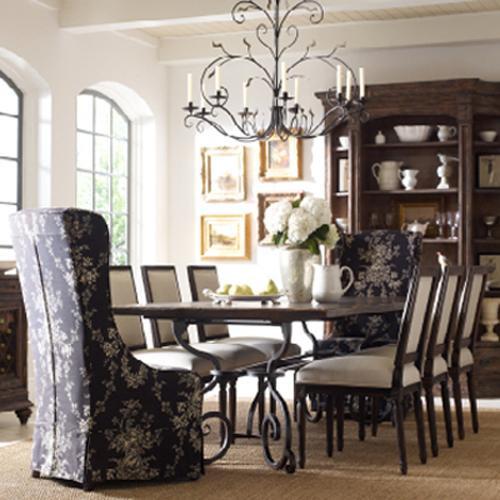 """Kincaid Furniture Artisan's Shoppe Dining 9 Pc 94"""" Table w/ French and Hostess Ch Set - Item Number: 90-2135P+6X90-2416+2X90-2399C"""