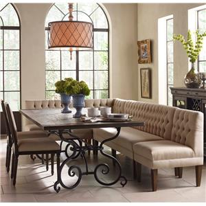 Kincaid Furniture Artisan's Shoppe Dining 7 Pc Rect Table, Banquette, French Chairs
