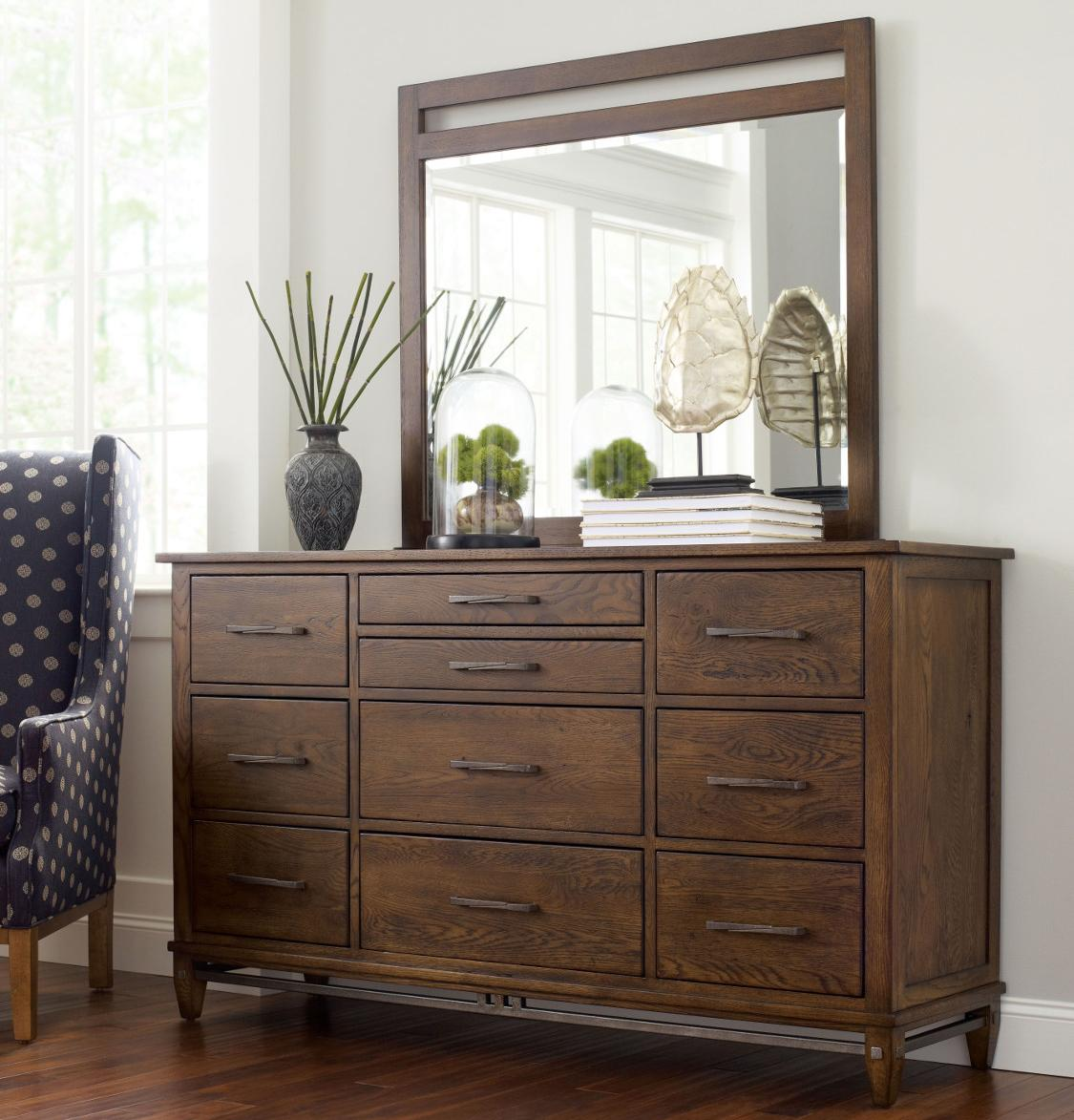 Kincaid Furniture Bedford Park Wheaton Dresser and Mirror - Item Number: 74-160+114