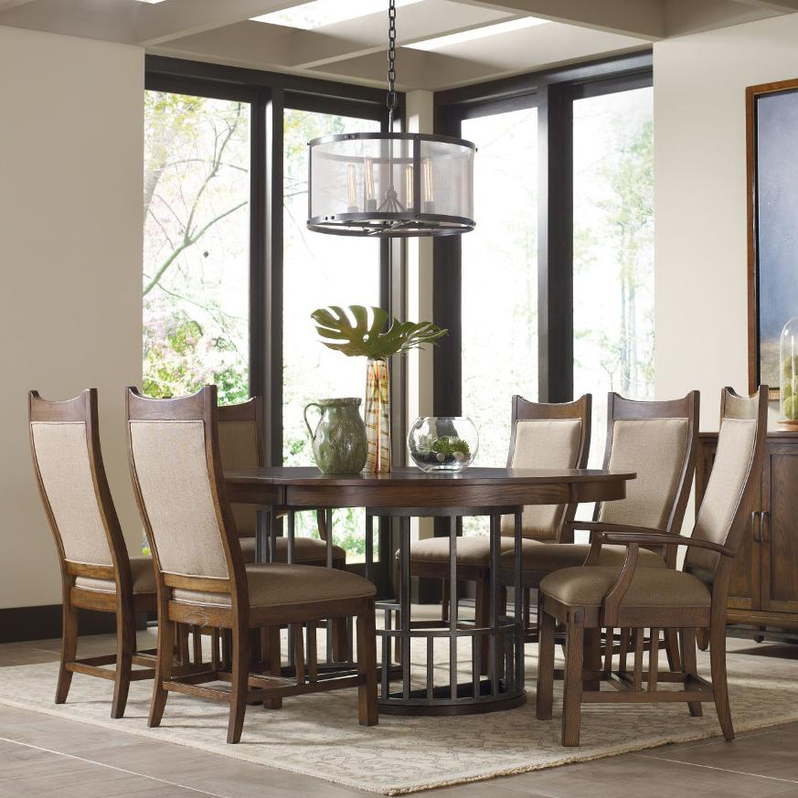 Kincaid Furniture Bedford Park 7 Pc Elements Table and Craftsman Chairs Set - Item Number: 74-52P+4X063+2X064