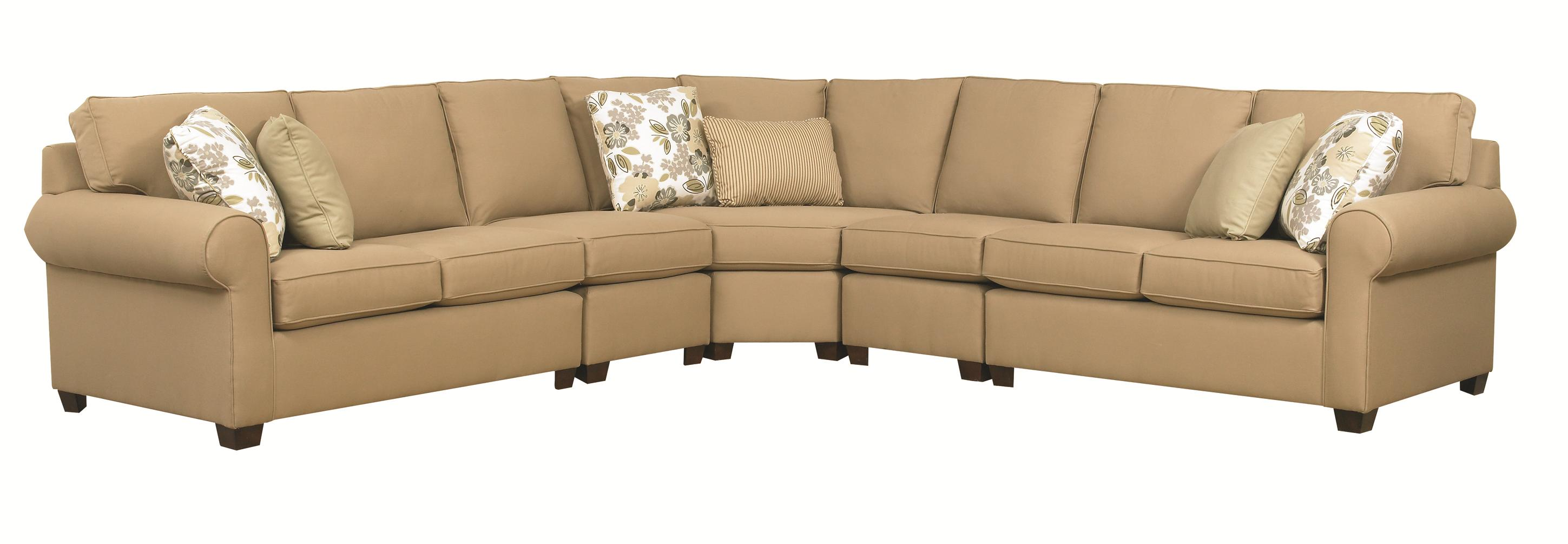 Kincaid Furniture Brannon Five Piece Sectional Sofa with Rolled Arms ...