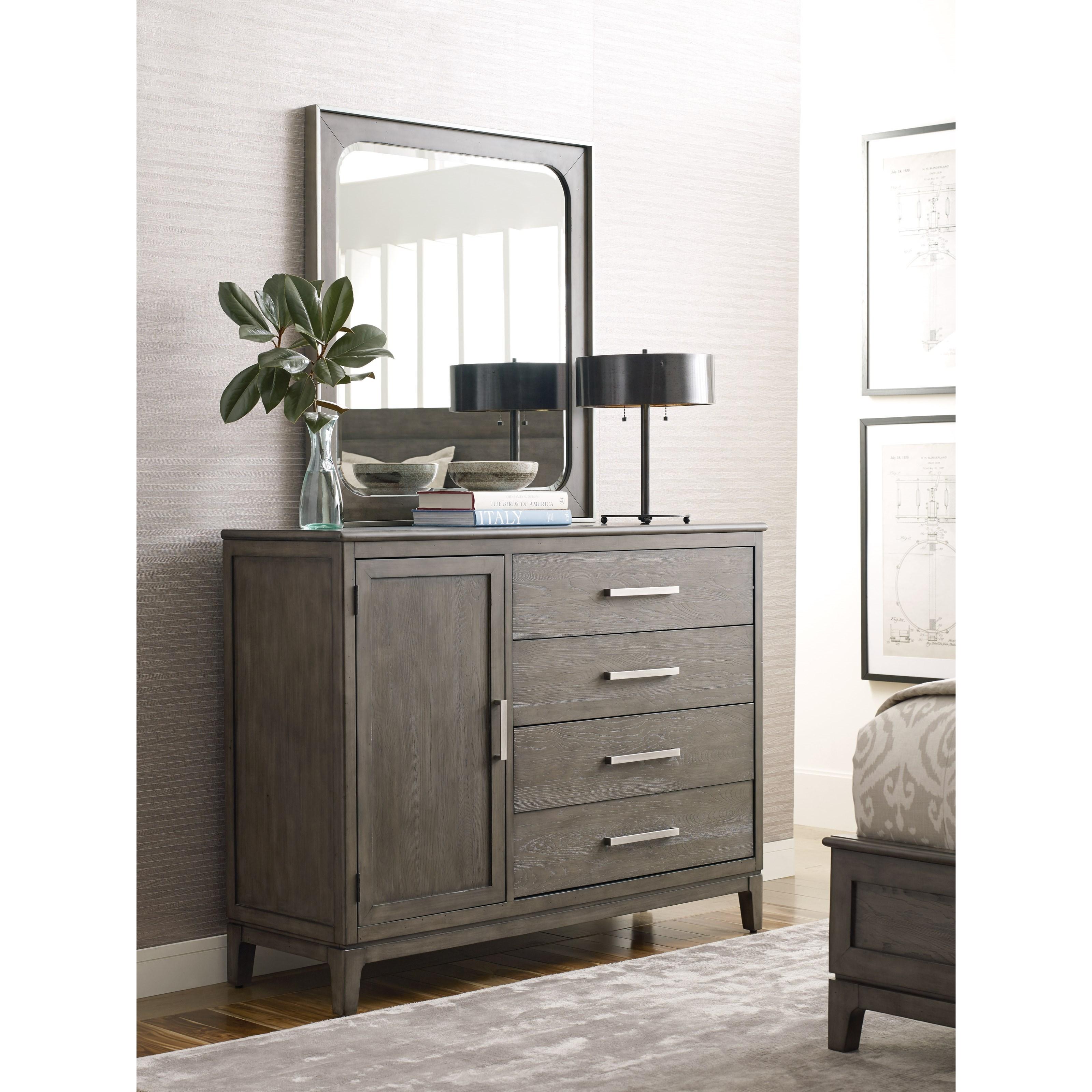 Cascade Garrison Door Bureau and Mirror Set by Kincaid Furniture at Johnny Janosik