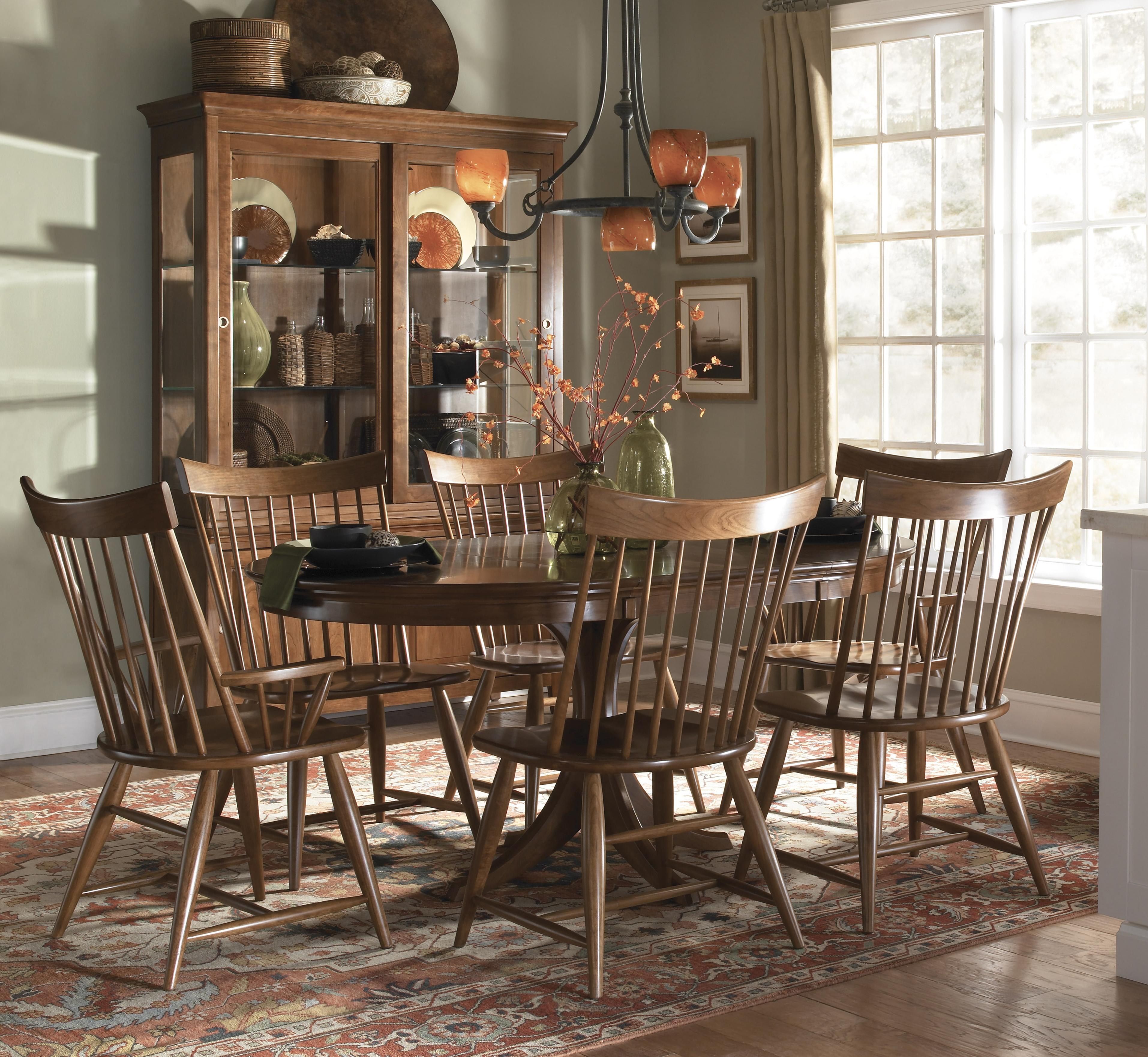 Kincaid Furniture Cherry Park Seven Piece Round Dining Table U0026 Windsor  Chair Set   AHFA   Dining 7 (or More) Piece Set Dealer Locator