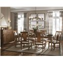 Kincaid Furniture Cherry Park Rectangular Leg Table with Two Apron Leaves - 63-056 - Shown with Table Leaf, Arm and Side Chairs, and Sideboard