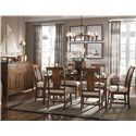 Kincaid Furniture Cherry Park Rectangular Leg Table with Two Apron Leaves - 63-056 - Shown without Leaf, Arm and Side Chairs, and Sideboard