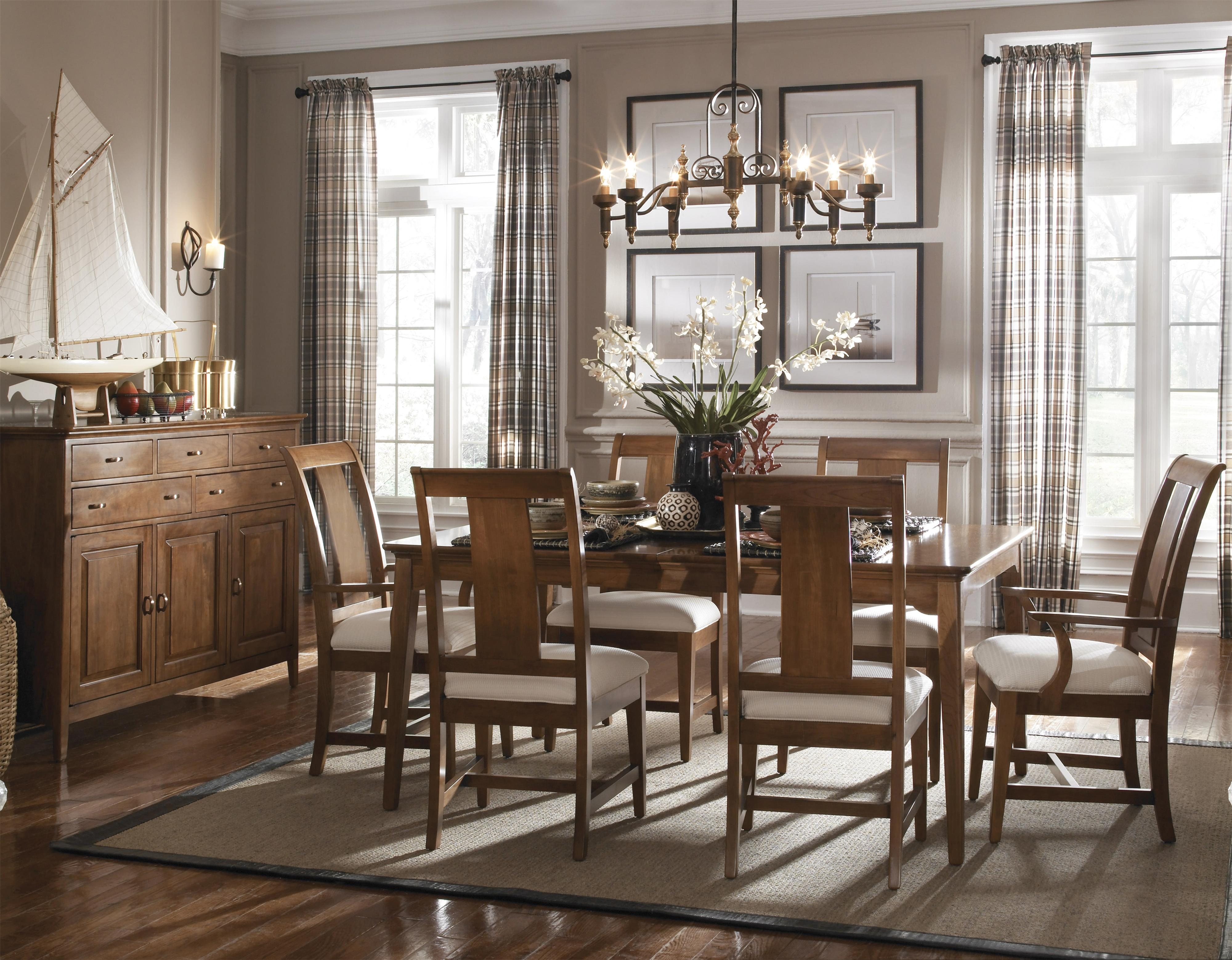 Kincaid furniture cherry park slat back side chair with for Model home dining room