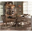 Kincaid Furniture Cherry Park Solid Cherry Windsor Arm Chair - Shown with Windsor Side Chairs, Round Dining Table, and China Cabinet