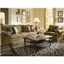 Kincaid Furniture Custom Select Upholstery Custom Upholstered Arm Chair with Skirted Base - 965-84 - Shown with Sofa