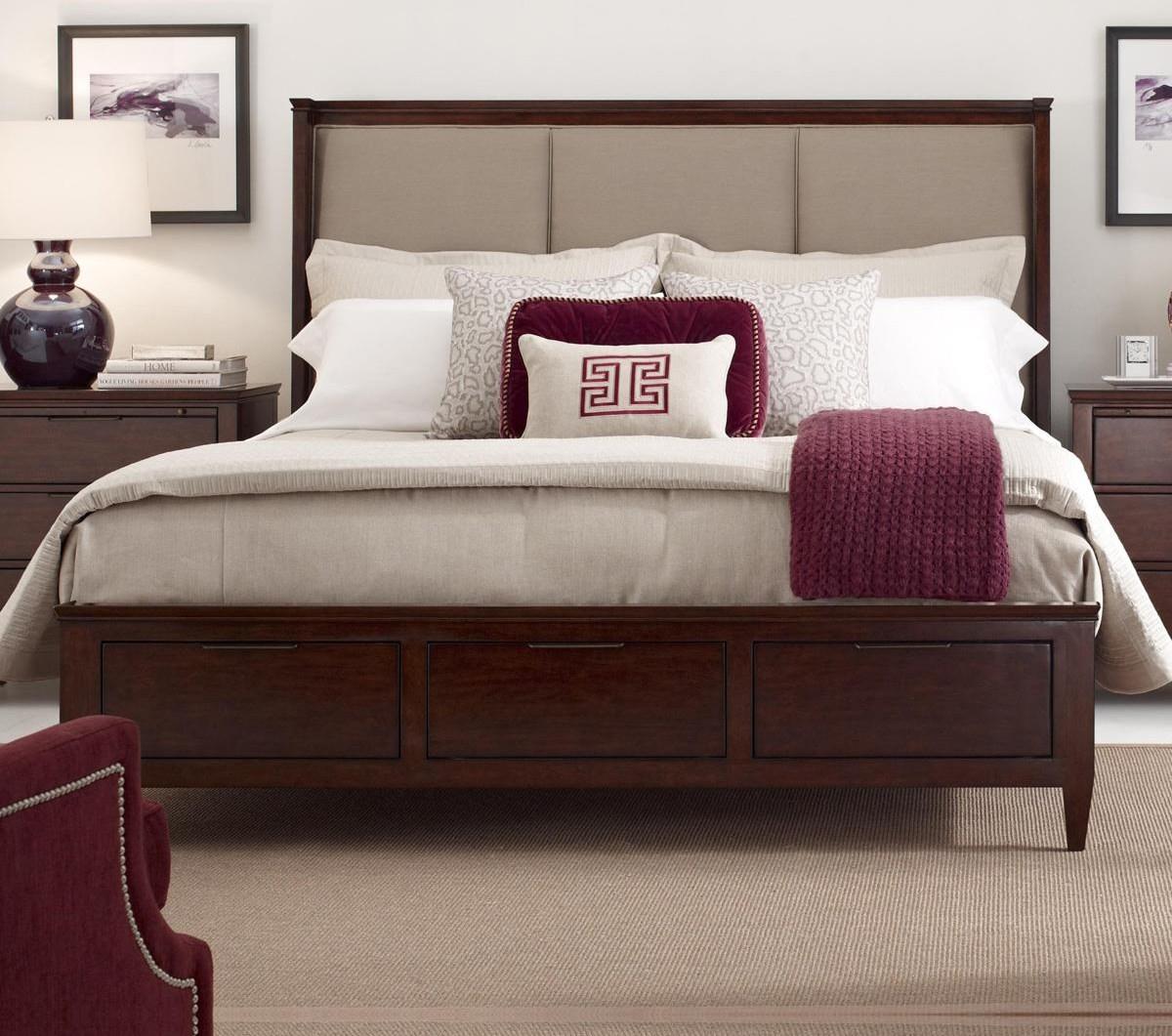 Kincaid Furniture Elise Spectrum King Upholstered Bed With Storage Footboard Belfort Furniture
