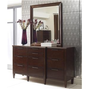 Kincaid Furniture Elise Transitional Bristow Breakfront Dresser and Mirror Set