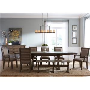 Kincaid Furniture Foundry 8 Pc Dining Set with Bench