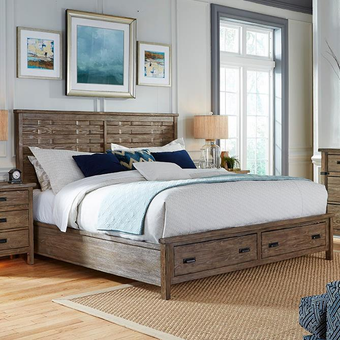 Foundry King Panel Bed with Storage Footboard by Kincaid Furniture at Johnny Janosik